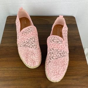 TOMS Pink Lace Flats